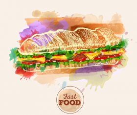 Fast food watercolor hand drawn vectors 05