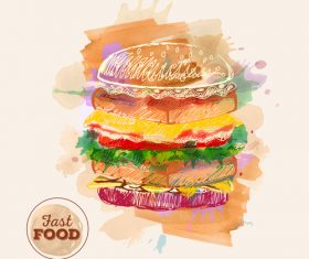 Fast food watercolor hand drawn vectors 06