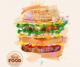 Fast food watercolor hand drawn vectors 07
