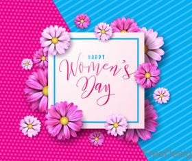 Flower frame with women day festival background vector