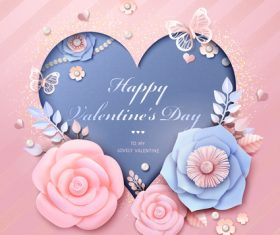 Flower valentines day card with heart vector
