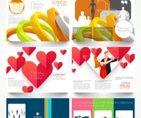 Four page brochures template vectors 03