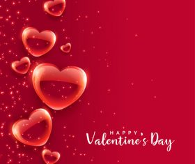 Glass red heart with red valentines day vector