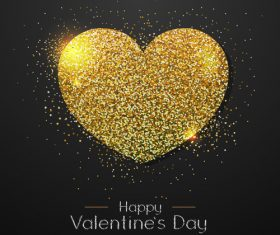 Golden confetti heart shape with valentines day background vectors 01