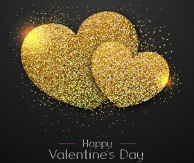 Golden confetti heart shape with valentines day background vectors 02