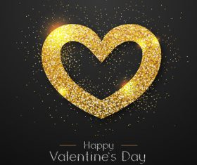 Golden confetti heart shape with valentines day background vectors 03