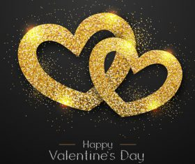 Golden confetti heart shape with valentines day background vectors 04