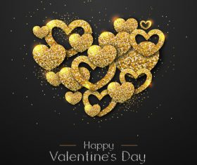 Golden confetti heart shape with valentines day background vectors 05