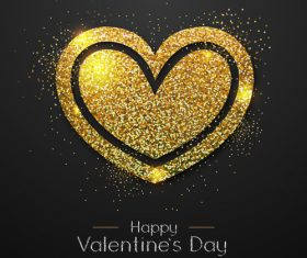 Golden confetti heart shape with valentines day background vectors 06