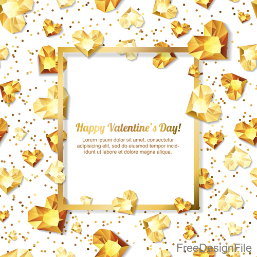 Golden diamond heart with valentine frame vector 02