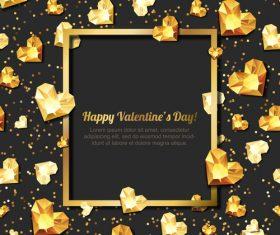 Golden diamond heart with valentine frame vector 01