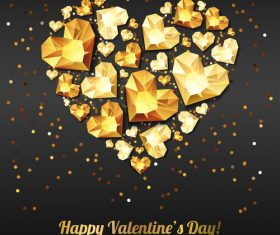 Golden diamond heart with valentine party background vector