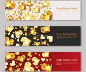 Golden diamond with valentines banners vector