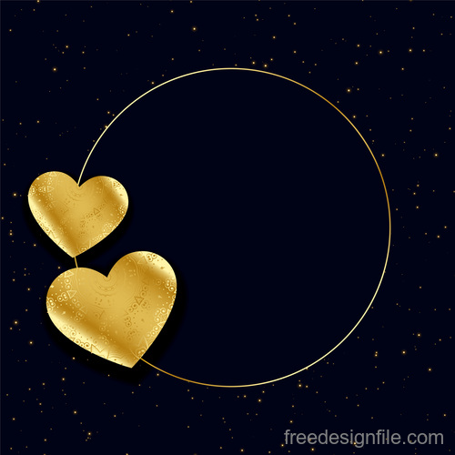 Golden floral heart with cricle and black background vector