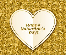 Golden shiny valentines background with heart vector