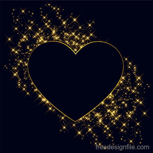 Golden stars light with heart shape vectors