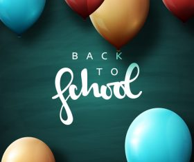Green back to school background with colored balloons vector 02