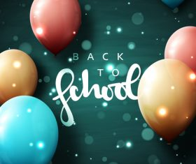 Green back to school background with colored balloons vector 03