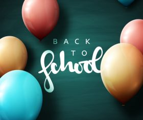 Green back to school background with colored balloons vector 04