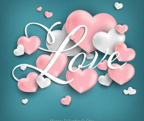Green valentines day background with pink heart vector 01