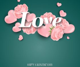 Green valentines day background with pink heart vector 02