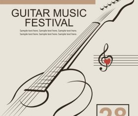 Guitar music festival poster retro design vector 01