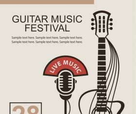 Guitar music festival poster retro design vector 02