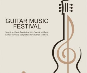Guitar music festival poster retro design vector 03