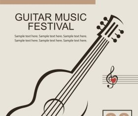 Guitar music festival poster retro design vector 04