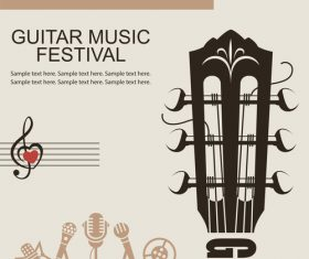 Guitar music festival poster retro design vector 05