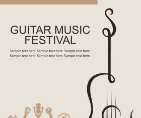 Guitar music festival poster retro design vector 06