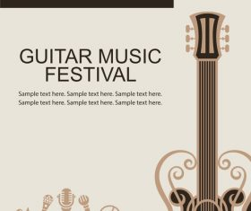 Guitar music festival poster retro design vector 07