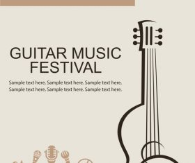 Guitar music festival poster retro design vector 08