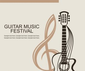 Guitar music festival poster retro design vector 09