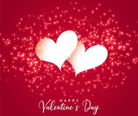 Halation valentines day background with white heart vector