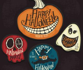 Halloween logos with sign design vectors 01