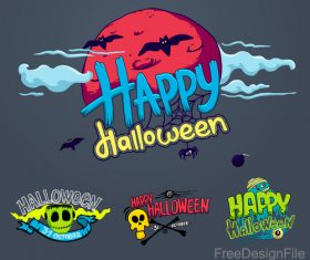 Halloween logos with sign design vectors 02