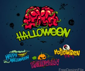 Halloween logos with sign design vectors 03