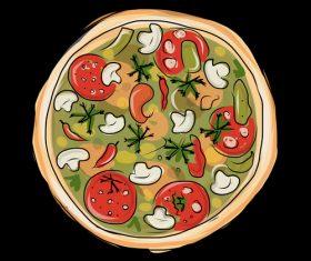Hand drawn pizza illustration vectors