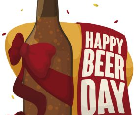 Happy beer day banner with bottle vector