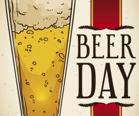 Happy beer day design vector material 02