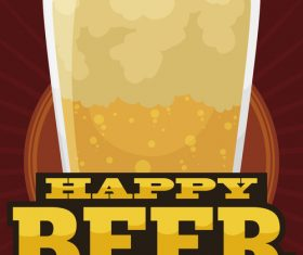 Happy beer day design vector material 03