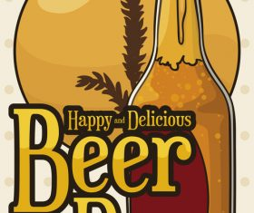 Happy beer day design vector material 04