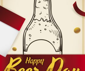 Happy beer day design vector material 05