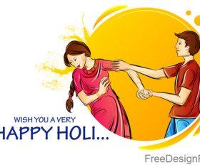 Happy holi festival design vectors material 04