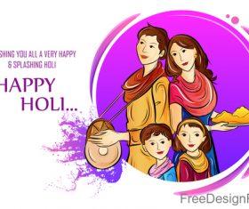 Happy holi festival design vectors material 05