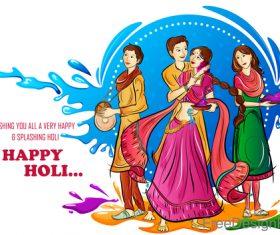 Happy holi festival design vectors material 06
