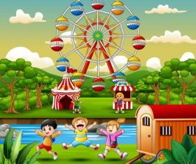 Happy kids with natural landscape vectors 01