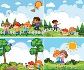 Happy kids with natural landscape vectors 02