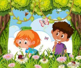 Happy kids with natural landscape vectors 03